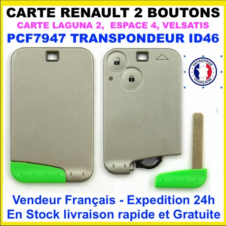 Carte 2 boutons Renault 433 mhz