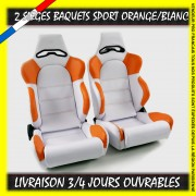 2 Sièges Baquets Sport Simili Cuir Orange/Blanc