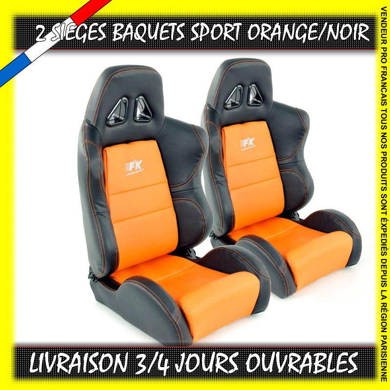 2 si ges baquets sport simili cuir orange blanc. Black Bedroom Furniture Sets. Home Design Ideas